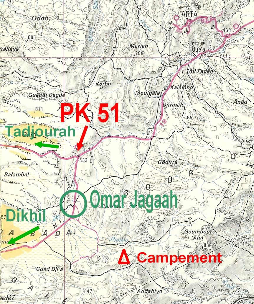 Carte géographique indiquant le chemin pour aller à Djalelo